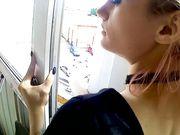 Sexo desde atrás en el balcón con mi novia